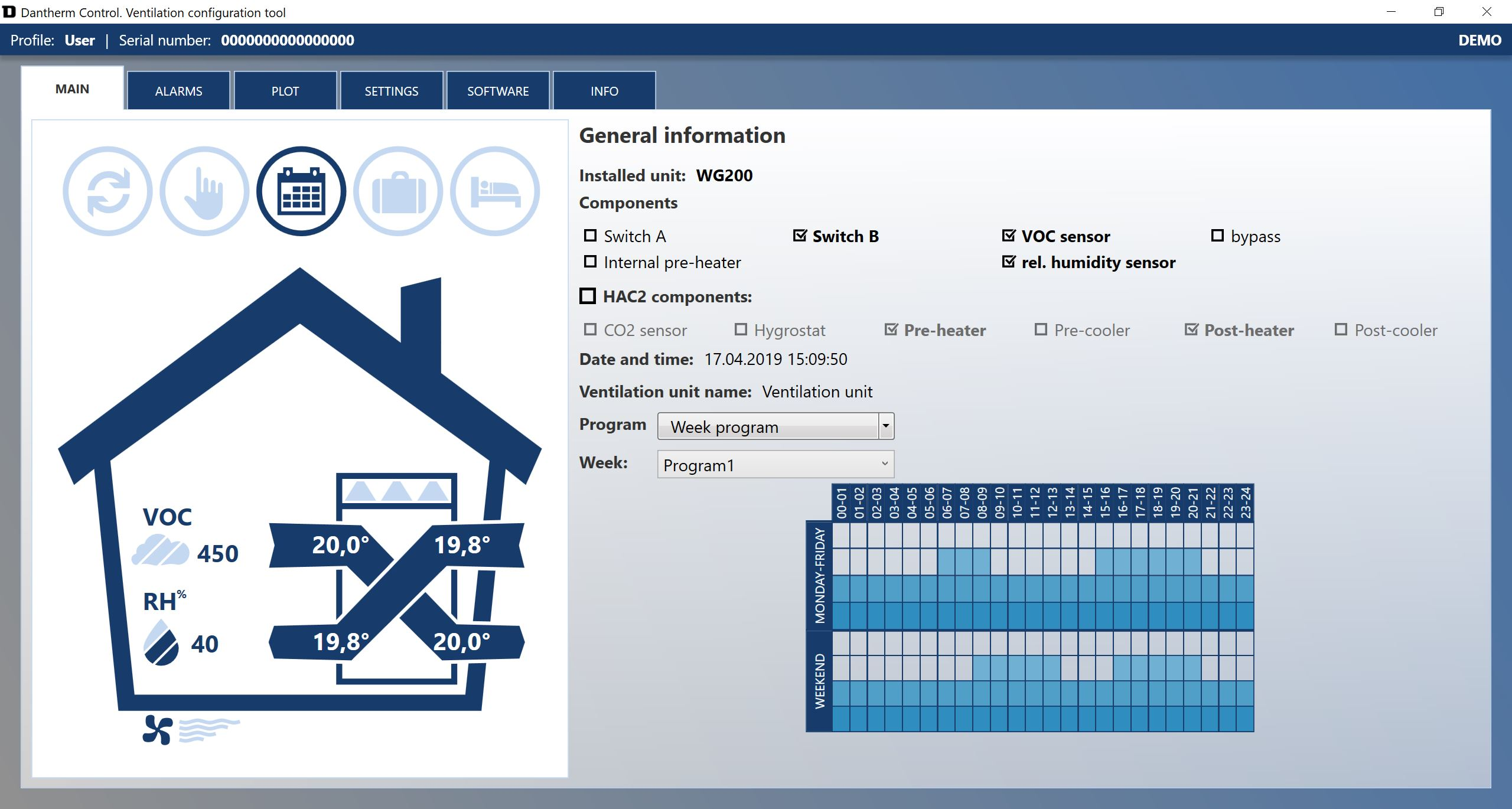Arvutiprogramm PC Tool HCV ventilatsiooniseadmele